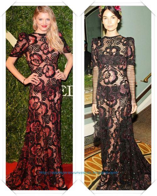 Un vestido de encaje de Marc Jacobs primavera 2014 lo llevo en rojo Lily Donaldson a los British Fashion Awards; después se lo vimos, en negro, a Lily Aldridge en el Save Venice Enchanted Garden Ball
