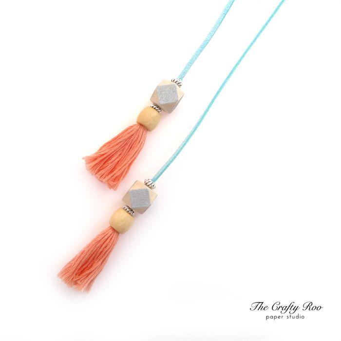 Peach/Silver/Light Blue Tassel Bookmark | The Crafty Roo Paper Studio | madeit.com.au