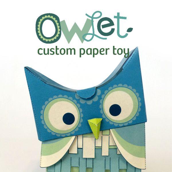 Green Owl Paper Toy - DEKedout.com