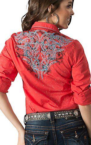 Roar Women's Orange Wild Heart with Embroidery Long - 3/4 Sleeves Western Shirt   Cavender's