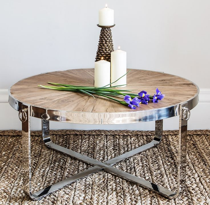Circular coffee table with reclaimed top and stainless steel frame
