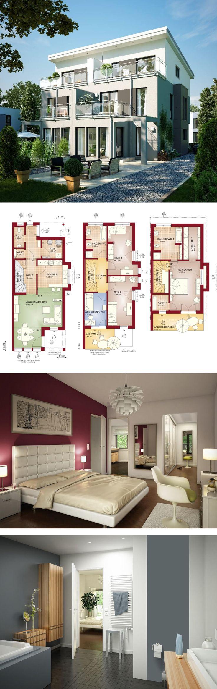 Modernes Design-Haus mit Pultdach – Doppelhaus Celebration 110 V7 XL Bien Zenker – HausbauDirekt.de – Eidi Putri