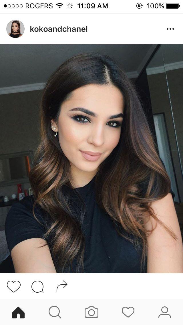 Caramel highlights on brunette