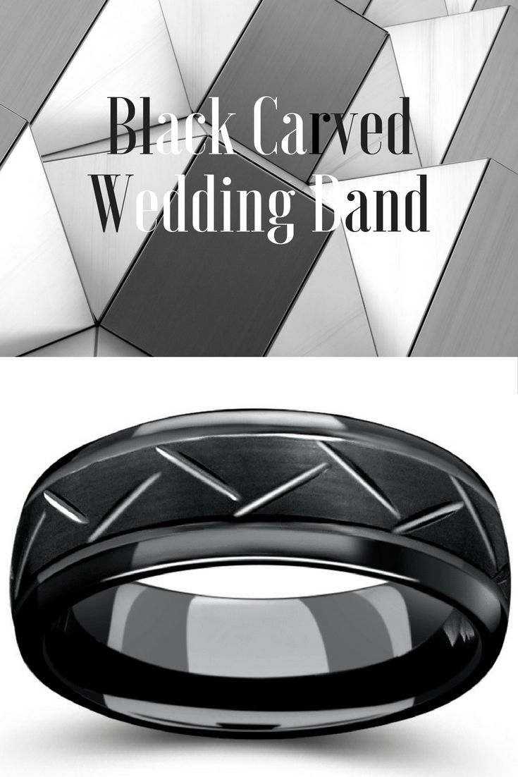 Mens black tungsten wedding ring with carved center and polished edges. This makes the perfect modern mens wedding band plus it is so unique. I have never seen a mens wedding ring like this.