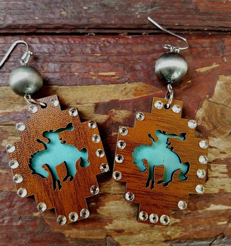 Cowgirl bling Gypsy lightweight wood  Bronc EARRINGS  Rodeo western  | Jewelry & Watches, Fashion Jewelry, Earrings | eBay!