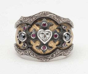 Ring | William Llewellyn Griffiths. 'Heart Medieval' 18k gold, oxidized sterling silver, white and black diamonds and sapphires.