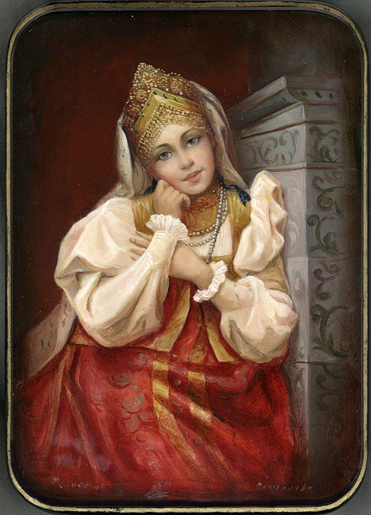 """"""" Girl By The Stove"""" Lacquer Art by Tatiana Smirnova (Fedoskino)"""