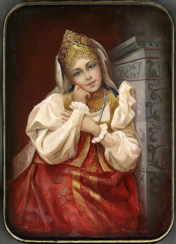 """ Girl By The Stove"" Lacquer Art by Tatiana   Smirnova (Fediskino)"
