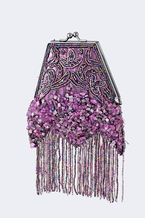 Vintage Style Hand Beaded Purple Clutch Layered Fringe Clutch