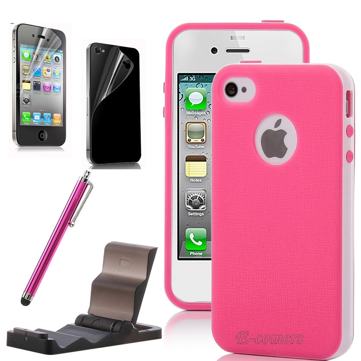 For Girls iPhone 4 4S Pink White 2-Piece Hybrid TPU Hard ...