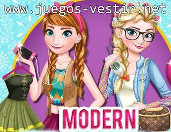 #Elsa y Anna de #Frozen han decidido cambiar de look y quieren modernizarse #juegosdevestir   #juegosdefrozen    http://www.juegos-vestir.net/jugar/elsa-y-anna