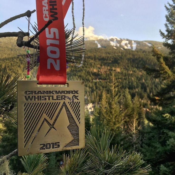 Found a #crankworx #crankworx2015 medal hanging from a #tree during my #jog yesterday. #mountains in the background #whistler #landscape #bikelife #iphonegraphy #iphoneonly #link #lutophotography #landscape_lovers