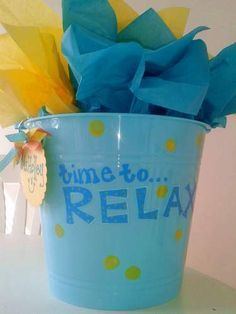 """cute spring break gift basket (bucket) """"time to relax"""" fillers and ideas, great for teacher appreciation, end-of-year, summer gift"""