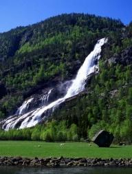 Mountains lush and green, water, waterfalls...<3 Odda, Hardangerfjord, Norway