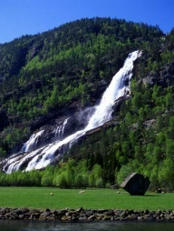 Mountains lush and green, water, waterfalls...<3 Odda, Hardangerfjord, Norway