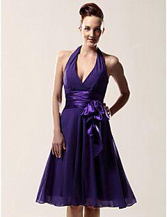 Bridesmaid Dress Knee Length Chiffon And Matte Satin A Line Halter V Neck Wedding Party Dress