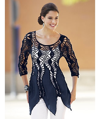 Freeform shaped fabric panels joined with lace crochet {Tunic, Crochet from Monroe and Main}