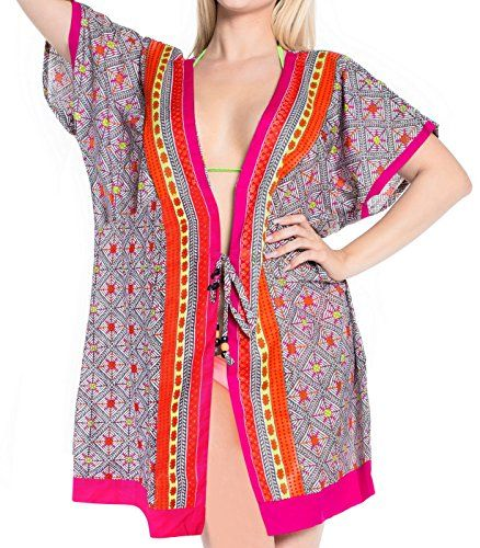 La Leela Smooth Cotton Cardigan Swimwear Beach Wear Plus Coverup Dress Pink. Do YOU want COVER UPS in other colors Like Red   Pink   Orange   Violet   Purple   Yellow   Green   Turquoise   Blue   Teal   Black   Grey   White   Maroon   Brown   Mustard   Navy ,Please click on BRAND NAME LA LEELA above TITLE OR Search for LA LEELA in Search Bar of Amazon. US Size : From Regular 14 (L) TO Plus Size 34W (6X) ➤ UK SIZE : FROM REGULAR 14 (M) TO 34(XXXXL) ➤ BUST : 62 Inches [ 157 cms ]➤ Length : 40…