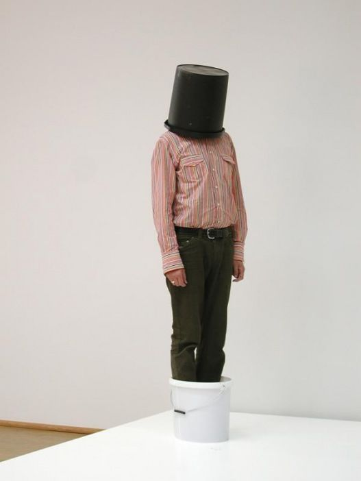 Erwin Wurm: One Minute Sculptures. Two buckets, one minute, realized by the public, installation view at Museum Moderner Kunst, Frankfurt am Main, 2003 credit for image Frankfurt