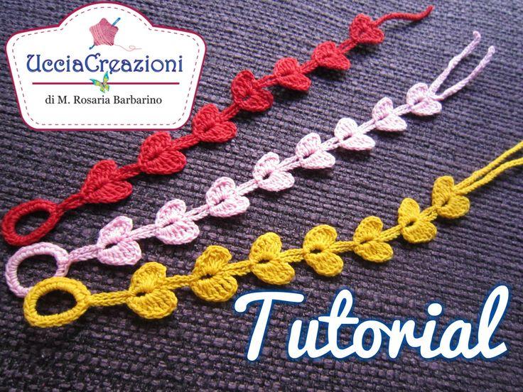 Tutorial 7. * Bracciali Cuore * Simil - Cruciani . How to Heart Crochet ...