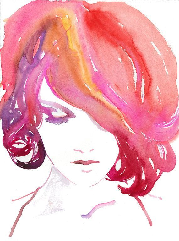 water color illust #women face red pink