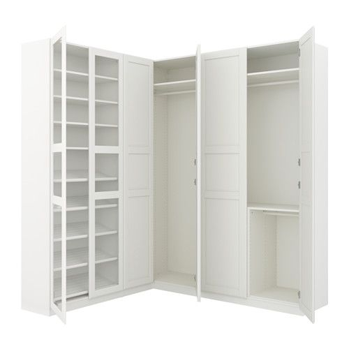 """IKEA - PAX, Corner wardrobe, 82 3/4/73 7/8x93 1/8 """", , 10-year Limited Warranty. Read about the terms in the Limited Warranty brochure.You can easily adapt this ready-made PAX/KOMPLEMENT combination to suit your needs and taste using the PAX planning tool.If you want to organize inside you can complement with interior organizers from the KOMPLEMENT series.Adjustable feet make it possible to compensate for any irregularities in the floor."""