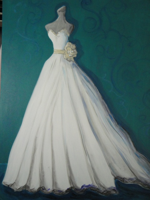 Custom wedding dress painting by laura pruett of laura for Painted on wedding dress