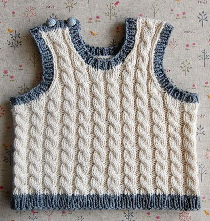 Whit's Knits: Cabled BabyVest - The Purl Bee - Knitting Crochet Sewing Embroidery Crafts Patterns and Ideas!