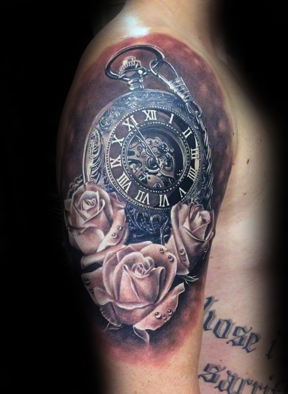 Pocket Watch Realistic Rose Half Sleeve Tattoos For Men                                                                                                                                                                                 More