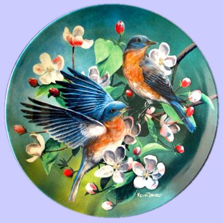 Encyclopedia Britannica, Birds of Your Garden: The Bluebird - Knowles - Artist: Kevin Daniel