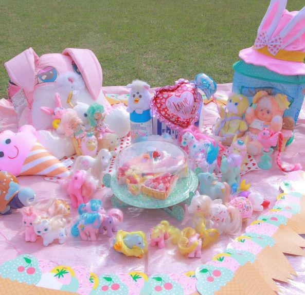 Fairy Kei Toy Goals! www.CuteVintageToys.com 💖 Hundreds Of  Vintage Toys From The 80s & 90s! Follow Me & Use The Coupon Code PINTEREST For 10% Off Your ENTIRE Order! 💌 Dozens of G1 My Little Ponies, Polly Pockets, Popples, Strawberry Shortcake, Care Bears, Rainbow Brite, Moondreamers, Keypers, Disney, Fisher Price, MOTU, She-Ra Cabbage Patch Kids, Dolls, Blues Clus, Barney, Teletubbies, ET, Barbie, Sanrio, Muppets, Sesame Street, & Fairy Kei Cuteness!💖