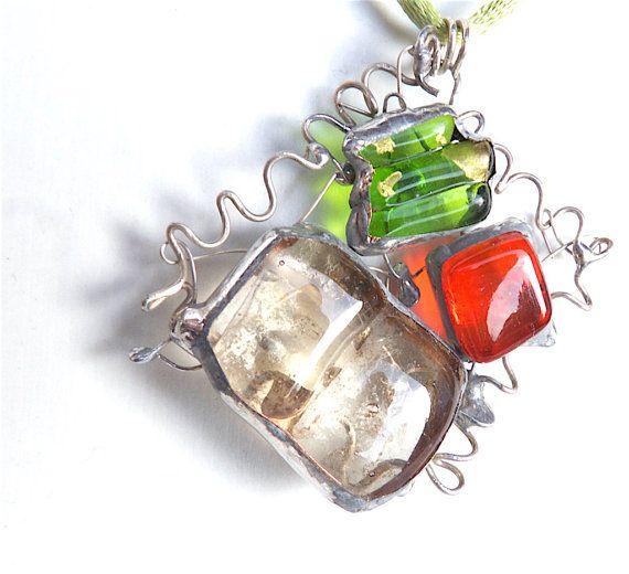 Unmissable! 25% OFF Until 31/10 #jewelry #glassjewel #etsyfinds #artisan #glass #giftidea #moda #originalAbstract pendantartisan necklacesilver by Dartisanglass on Etsy