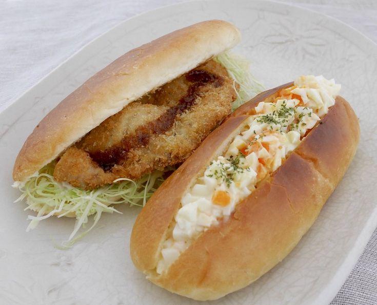 コッペパンサンドウィッチ2種。玉子サンド(Dマスタード、パセリ)、カツサンド(辛子とマヨ少し、ソース)、