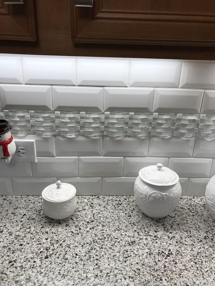 Kitchen backsplash 3x6 white subway tile with deco accent White tile backsplash kitchen