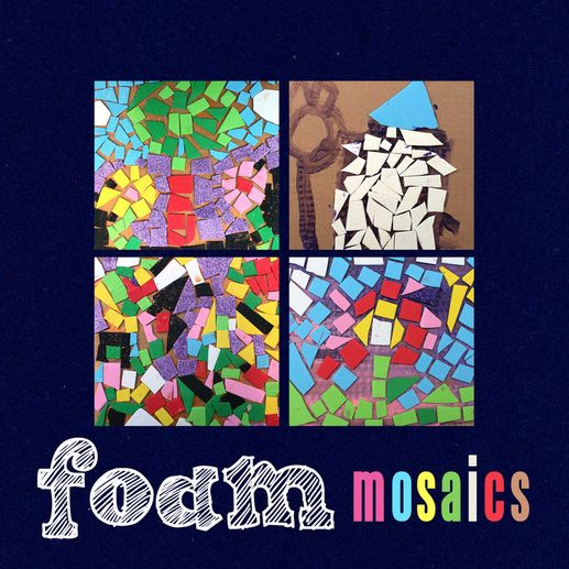 Mosaic art for kids made from craft foam and scrap cardboard