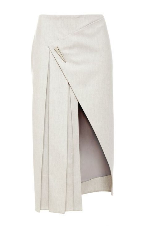 Cashmere Flannel Asymmetrical Pleated Skirt by Prabal Gurung for Preorder on Moda Operandi