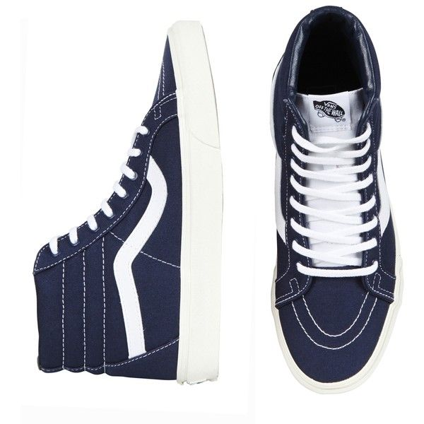 SK8 HI REISSUE BLUE MARSHMELLOW ($105) ❤ liked on Polyvore featuring shoes, sneakers, vans, shoes., blue shoes, canvas lace up sneakers, canvas high tops, lace up sneakers and high top sneakers