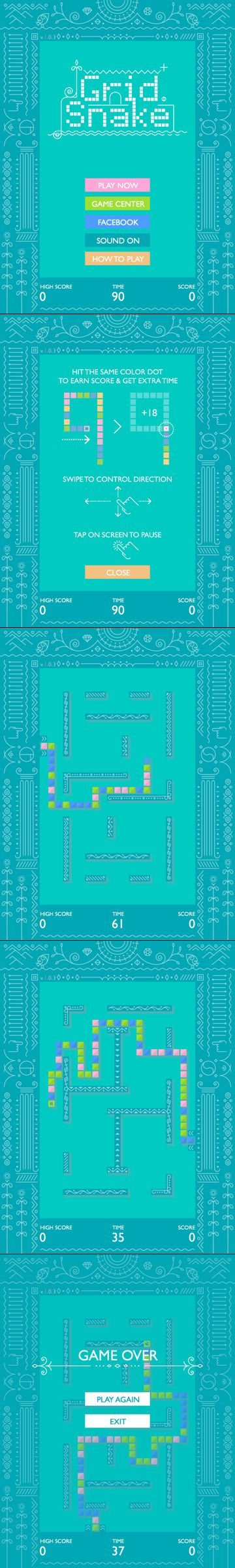 Grid Snake (Universal) // FREE iOS game // retro // The same classic snake game, but this time the snake bites itself.