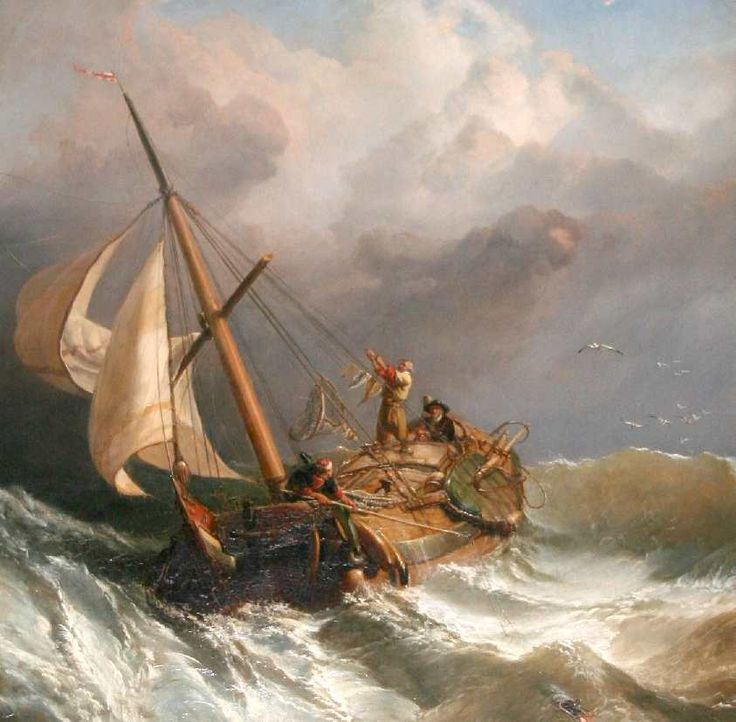 stormy clouds boat as sea battling high winds painting