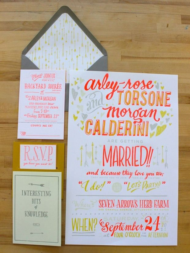 Rhode Island-based Ladyfingers Letterpress combines letterpress and hand lettering in this wedding invite.