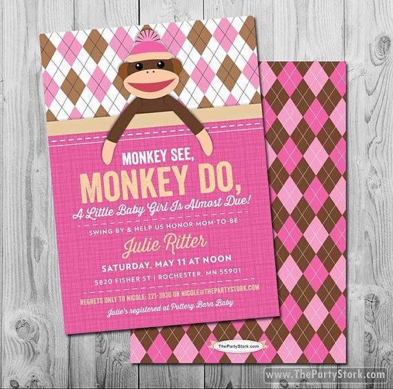 sock monkey baby shower custom baby shower by