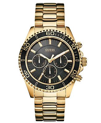 GUESS Watch, Men's Chronograph Gold Tone Stainless Steel Bracelet 45mm U0170G2