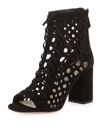 Lattice-Caged+Leather+Sandal,+Black+by+Prada+at+Bergdorf+Goodman.