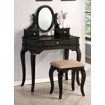 3 pc Black finish wood make up bedroom vanity set with curved legs stool and 3 drawers - A.M.B. Furniture & Design