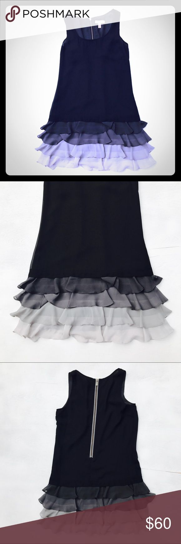 """Ted Baker Transparent Black Party Mini Dress Ted Baker London Transparent Black Party / Cocktail Mini Dress with Gray Ruffles  Measurements: Chest 34"""" Length 33"""" (short mini dress / tunic length) See thru - would look great over a slip or tank top with leggings - bang on trend :) Ted Baker Dresses Mini"""