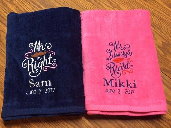 Lg Set Of 2 Mr And Mrs Right Beach Towels Bridal Shower Gift