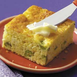 Broccoli Cornbread ----- 1 c. cottage cheese  1 box Jiffy cornbread muffin mix  1 stick butter  4 eggs  1 chopped onion  1 tsp. salt  1 pkg. frozen broccoli.   ~~~       Thaw and chop broccoli,. Beat eggs, cottage cheese, cornbread mix, butter, onion and salt. Mix in broccoli; put into grease pan. Bake at 400 degrees until done.