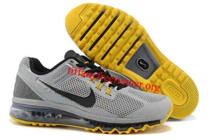 Mens Nike Air Max 2013 LAF Wolf Grey Black Cool Grey Varsity Maize Shoes