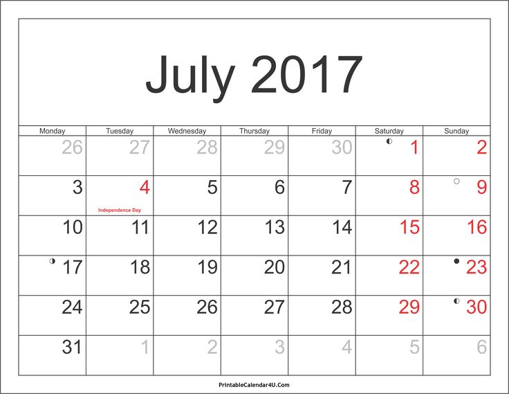 July 2017 Calendar With Holidays | July 2017 Calendar With Holidays