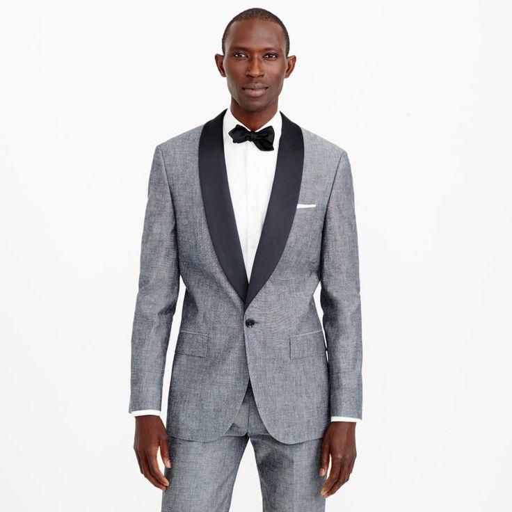 J.Crew Tuxedo Jacket in Japanese Chambray: http://www.stylemepretty.com/2016/07/25/wedding-groom-menswear-tuxedo-suit/